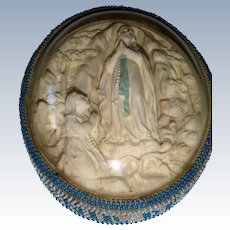 Unusual religious plaque with bead work