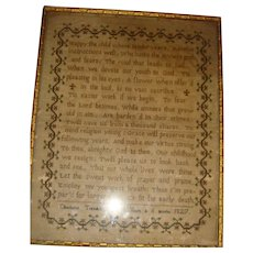 Sampler with verse  by Charlotte Trendall aged 8 worked 1827