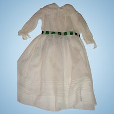 Pretty ribbon trimmed white dress for large doll
