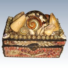 Antique shell covered box with paper lining