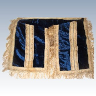 Early blue pan velvet material with silk ribbon for clothing or dolls house