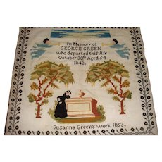 Well worked interesting memorial sampler 1853