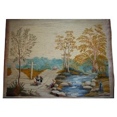 Beautiful long stitch wool work picture 19th century