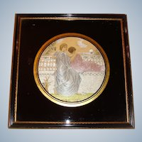 Silk embroidered picture with eglomise frame