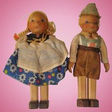 Pair of Swiss wooden dolls