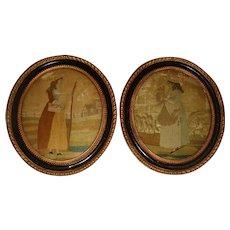 Pair 18th century silk work pictures in original frames