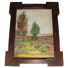 Silk embroidered picture in oak frame