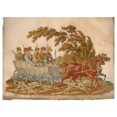 Late 18th century needlework with soldiers in horse drawn cart and dogs