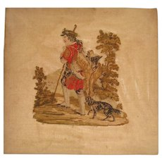 Early 19th century needlework of man with dog