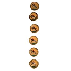 Set of vintage glass buttons with hunting horsemen
