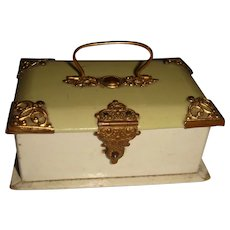 Delightful child's sewing box with ormolu mounts