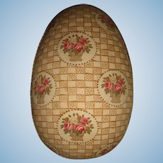 Beautiful old fabric covered egg for doll and layette
