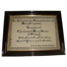 Well worked in memorial sampler for Mary Elizabeth dated 1874