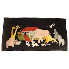 Delightful appliqued embroidery of Noah's Ark 1930s