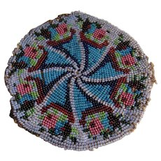 Circular small bead work rug for the dolls house