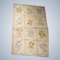 Needlework throw with wild flowers in squares