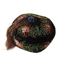 Beautiful embroidered smoker's hat with tassel
