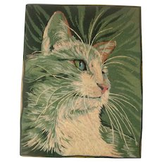 Vintage needlework of cat with fine needlepoint