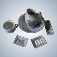 Miniature French jug and basin set with soap dish
