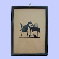 Signed 1920s silhouette picture child with cat and bird