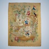 Interesting old needlework of oriental scene