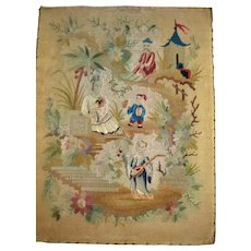 Interesting old needlework of oriental scene