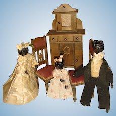 Rare Wax head black wish bone wedding dolls