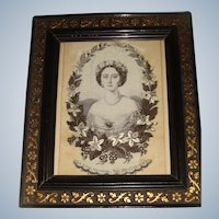 Beautiful Stevengraph portrait of Princess Alice well framed