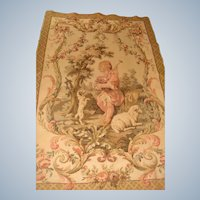 Large vintage tapestry with boy sheep and dog