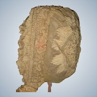 Early lace doll bonnet very unusual