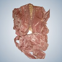 Antique pink silk material 1840 blouse for doll clothes