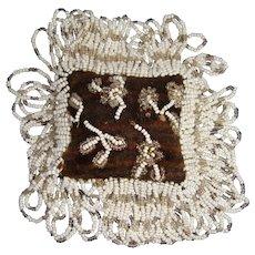 Small velvet covered bead work pincushion