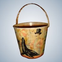 Happynak series lithograph tin beach bucket with circus
