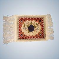 Hand made miniature  signed silk rug