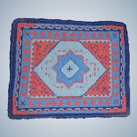 Hand stitched woolen rug for dolls house