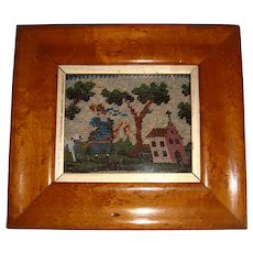 Miniature early 19th century bead work picture in maple frame