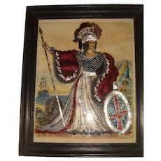Superb 19th century tinsel picture of Britannia