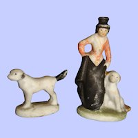 Tiny all bisque ornaments for dolls house dog and lady