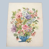 Well worked needlework of flowers and bird beautiful colors