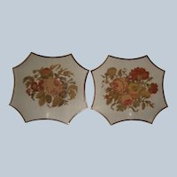 Pair of early 19th century needlework face screens