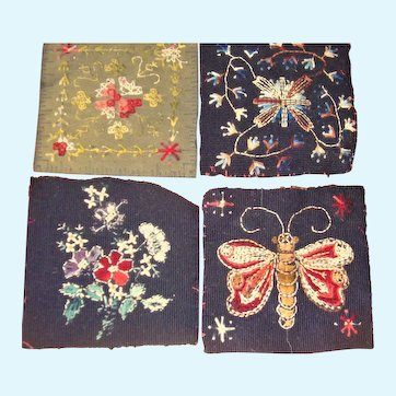 4 small pieces of Victorian embroidery for dolls house rugs