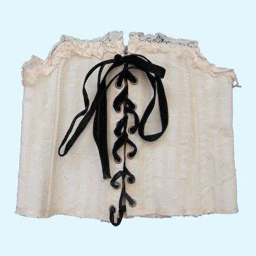 Boned lace edge doll corset