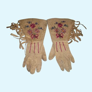 Pair of Native American embroidered gloves