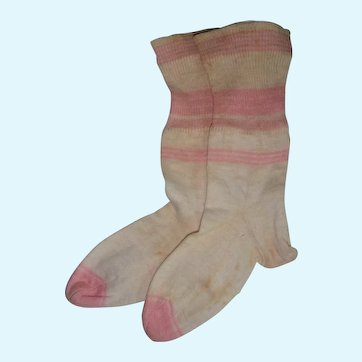 Pair of pink striped socks for large doll