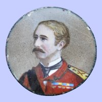 Tiny hand painted enamel plaque of an officer