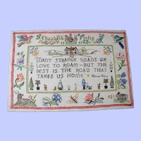 Beautifully worked sampler with animals birds Elizabeth and Philip 1947