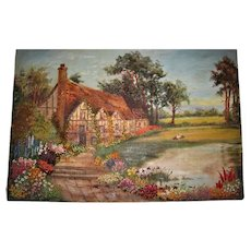 Embroidered oil painting of English country Cottages