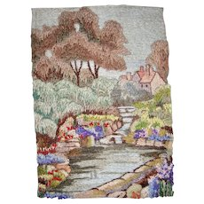 Silk embroidered picture of English cottage garden