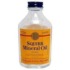 SQUIBB Travel Size 6 oz. Mineral Oil Glass Bottle Drugstore Or Pharmacy
