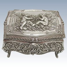 Silvered Repousse Jewelry or Trinket Box